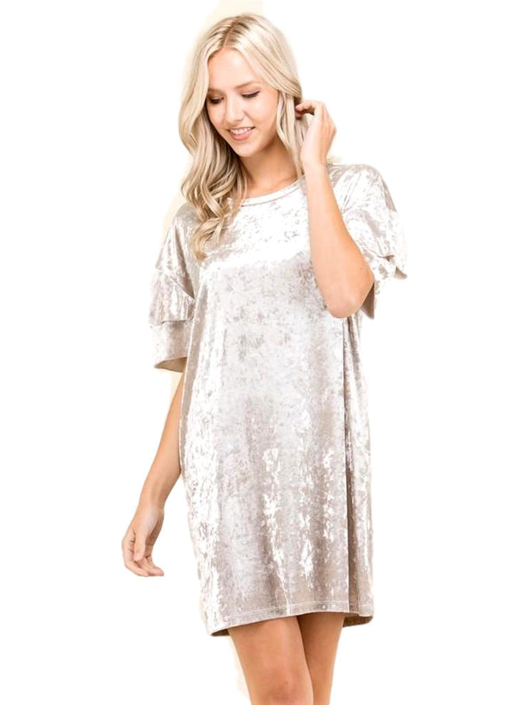 Ruffled Short Sleeve Velvet Dress, Champagne-CASUAL DRESSES-American Chic-Chic Boutique and Gift Emporium