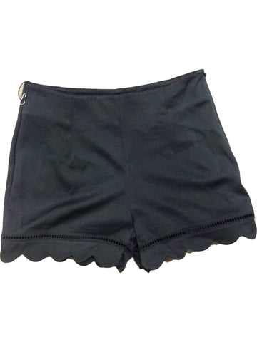 Scallop Shorts with Cut Out Details, Black-SHORTS-HYFVE-Chic Boutique and Gift Emporium
