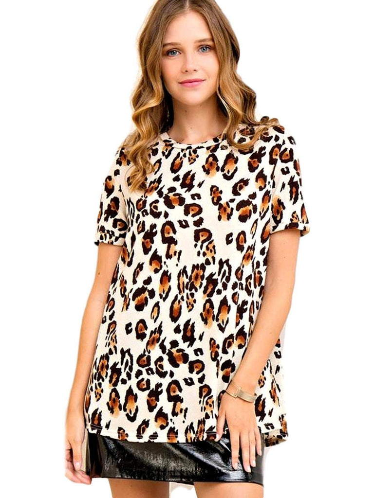 Scoop Neck, Loose Top, Leopard-CASUAL TOPS-ENTRO-Chic Boutique and Gift Emporium