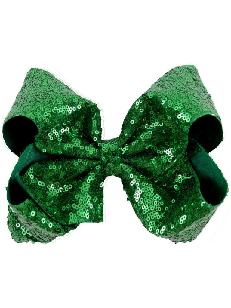 "Sequin 8"" Hair Bow, Green-BOUTIQUE BOWS-Hana-OS-Green-Chic Boutique and Gift Emporium"