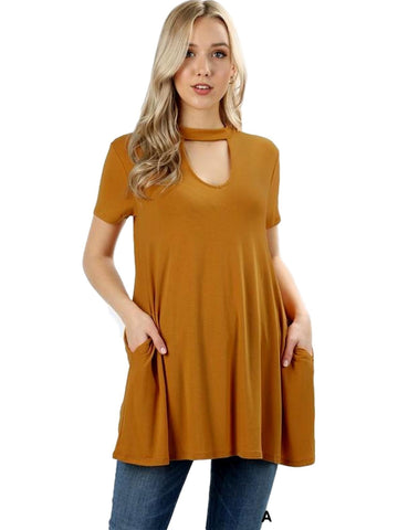 Short Sleeve Choker Neck Top, Ash Mustard-CASUAL TOPS-Zenana-Chic Boutique and Gift Emporium