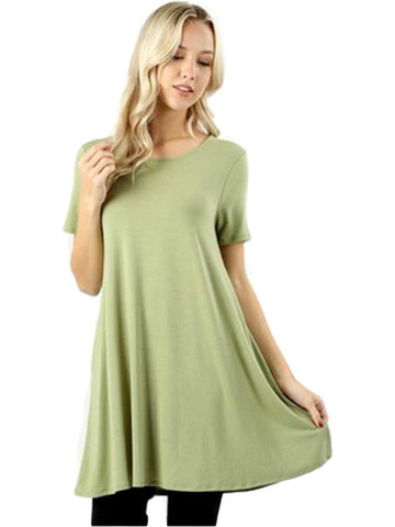Short Sleeve Long line Flared Straight Hem Tunic with Side Pockets Top, Sage-SHORT SLEEVE-Zenana-Chic Boutique and Gift Emporium