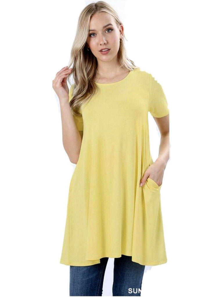Short Sleeve Long line Flared Straight Hem Tunic with Side Pockets Top, Sunshine-SHORT SLEEVE-Zenana-Chic Boutique and Gift Emporium