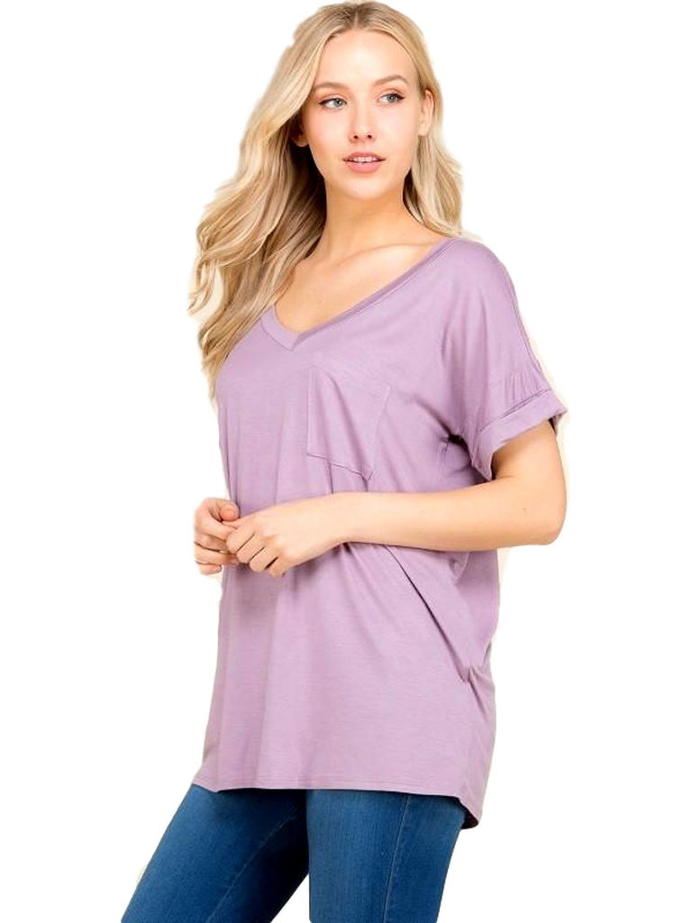 Short sleeve top with front pocket, Opera Mauve-CASUAL TOPS-Flamingo-Chic Boutique and Gift Emporium