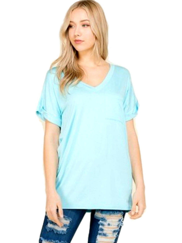 Short sleeve top with front pocket, Sky Blue-CASUAL TOPS-Flamingo-Chic Boutique and Gift Emporium