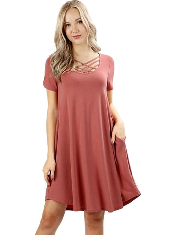 Short Sleeve Triple Lattice Dress, Ash Rose-CASUAL DRESSES-Zenana-Chic Boutique and Gift Emporium