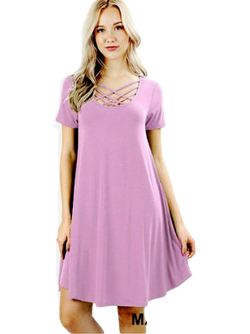 Short Sleeve Triple Lattice Dress, Mauve-CASUAL DRESSES-Zenana-Chic Boutique and Gift Emporium