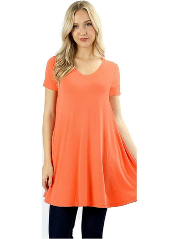 Short Sleeve V-Neck Long line Flared Straight Hem Tunic with Side Pockets Top, Deep Coral-SHORT SLEEVE-Zenana-Chic Boutique and Gift Emporium