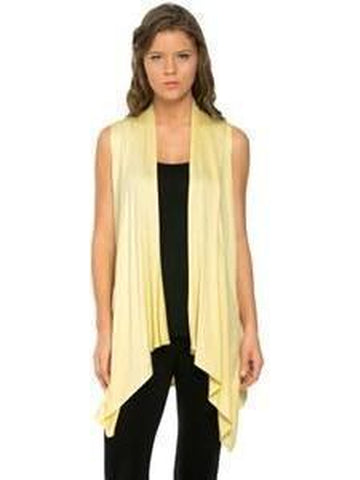 Sleeveless, Open Front Drape Vest Cardigan, Banana-CARDIGANS-Azules-Chic Boutique and Gift Emporium