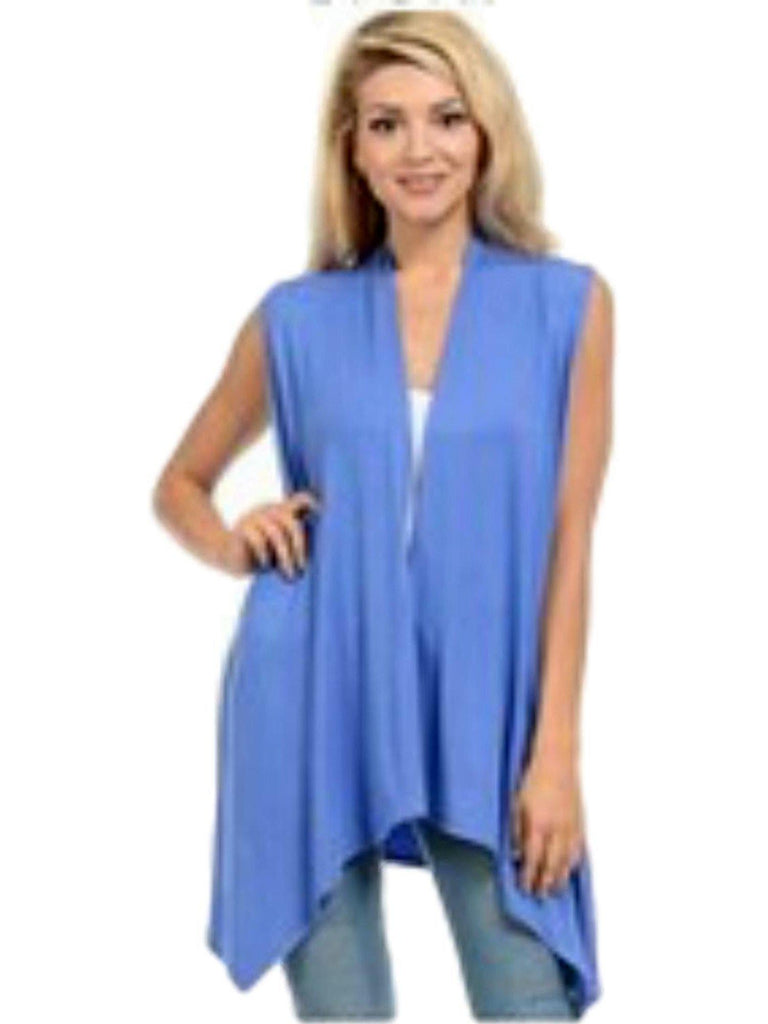 Sleeveless, Open Front Drape Vest Cardigan, Pastel Blue-CARDIGANS-AAAAA Fashion-Chic Boutique and Gift Emporium