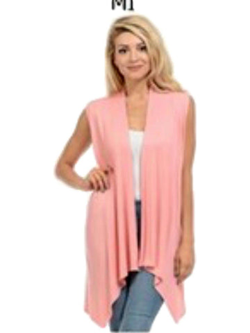 Sleeveless, Open Front Drape Vest Cardigan, Peach-CARDIGANS-AAAAA Fashion-Chic Boutique and Gift Emporium
