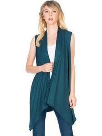 Sleeveless, Open Front Drape Vest Cardigan, Teal-CARDIGANS-Azules-Chic Boutique and Gift Emporium