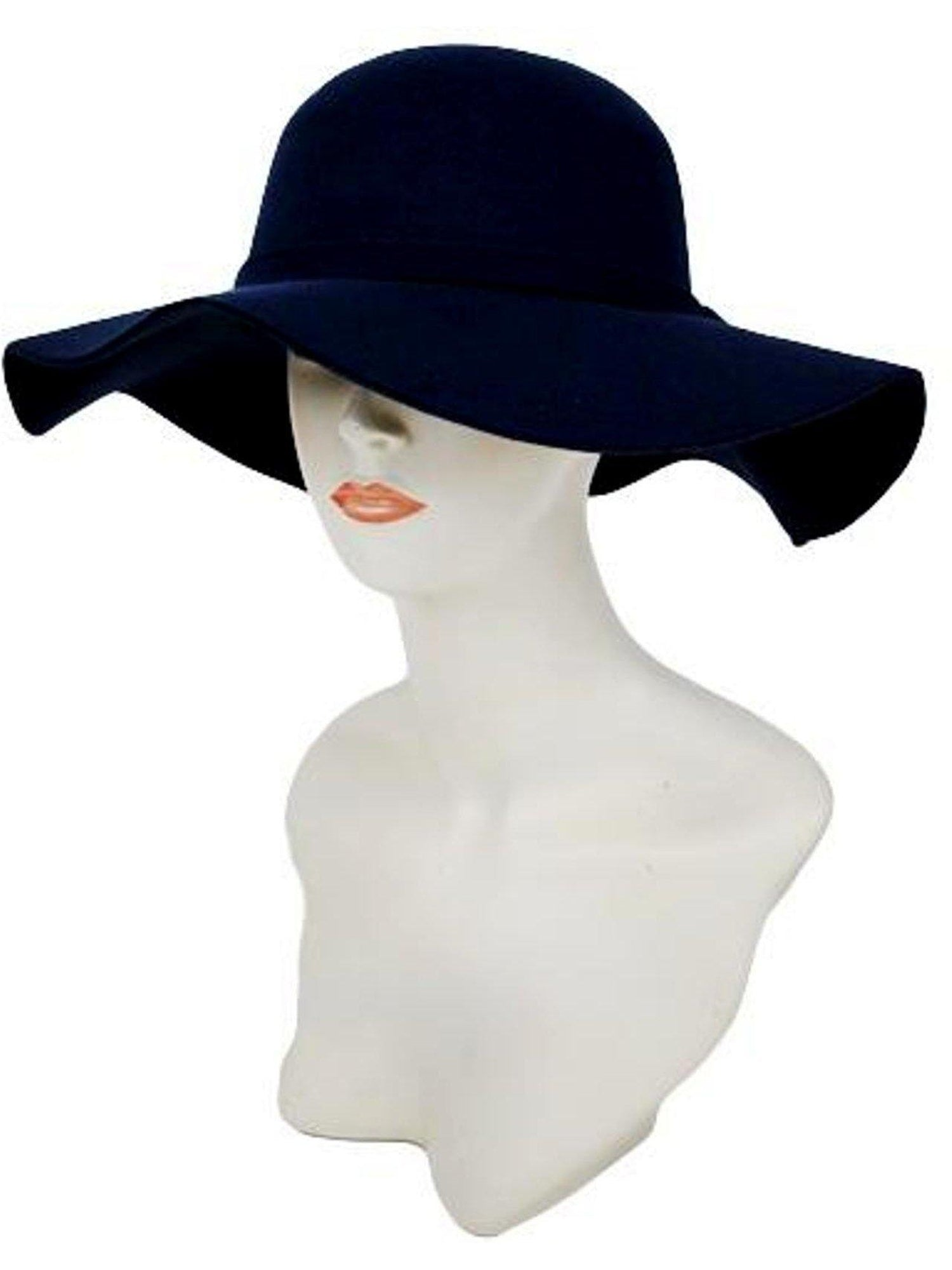 ea0f6fda0c5 Soft felt floppy hat monochromatic band with small ribbon black hats hair cap  zone os black