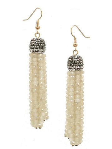 Stone Pave Cap Crystal Tassel Earring, White-EARRINGS-Urbanista-OS-White-Chic Boutique and Gift Emporium