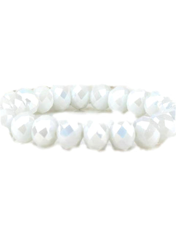 Stunning Crystal Bead Bracelet, Opal White-BRACELETS-Urbanista-10 MM-Opal White-Chic Boutique and Gift Emporium