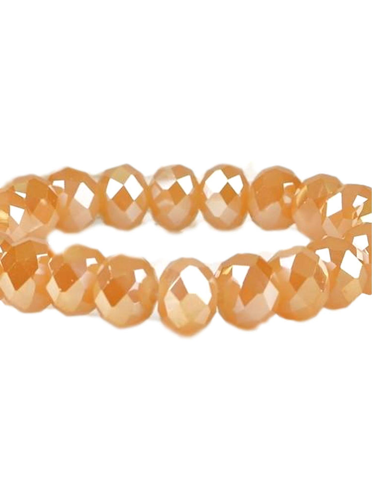 Stunning Crystal Bead Bracelet, Peach-BRACELETS-Urbanista-10 MM-Peach-Chic Boutique and Gift Emporium