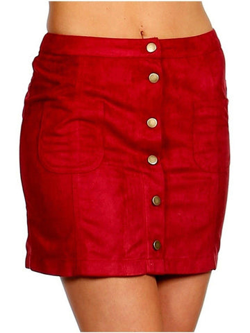 Suede Button Down Penil Skirt, Burgundy-SKIRTS-TREND NOTES-Chic Boutique and Gift Emporium