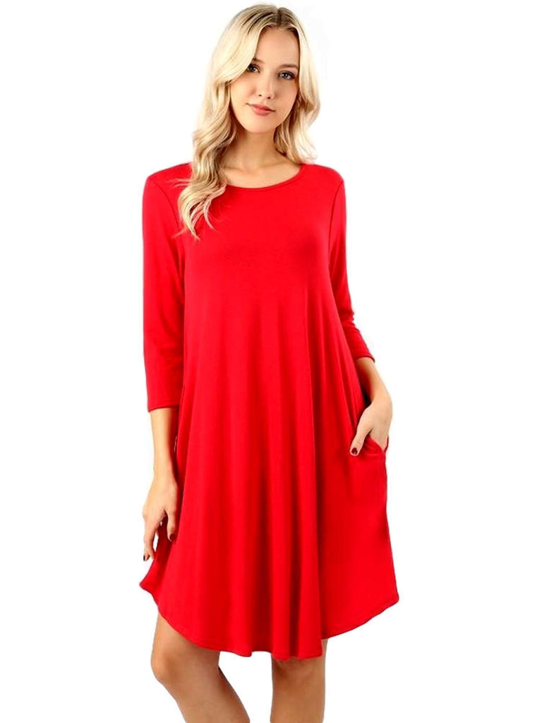 Sweater Fabric 3/4 Sleeve Round Hem Aline Dress with Side Pockets, Red-CASUAL DRESSES-Zenana-Chic Boutique and Gift Emporium