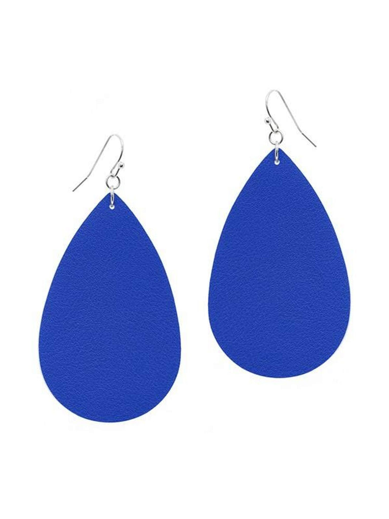 Tear Drop Leather Earring, Blue-Earrings-Suzie Q-OS-Blue-Chic Boutique and Gift Emporium