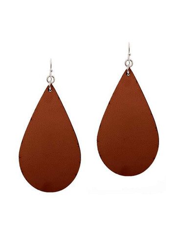 Tear Drop Leather Earring, Brown-Earrings-Suzie Q-OS-Brown-Chic Boutique and Gift Emporium