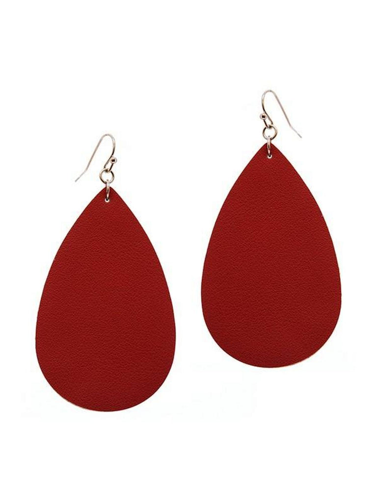 Tear Drop Leather Earring, Burgundy-Earrings-Suzie Q-OS-Burgundy-Chic Boutique and Gift Emporium