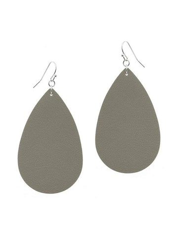 Tear Drop Leather Earring, Grey-Earrings-Suzie Q-OS-Grey-Chic Boutique and Gift Emporium