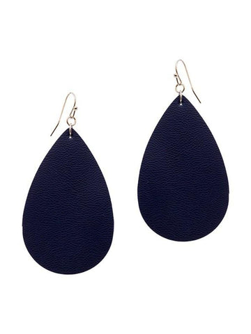 Tear Drop Leather Earring, Navy-Earrings-Suzie Q-OS-Navy-Chic Boutique and Gift Emporium