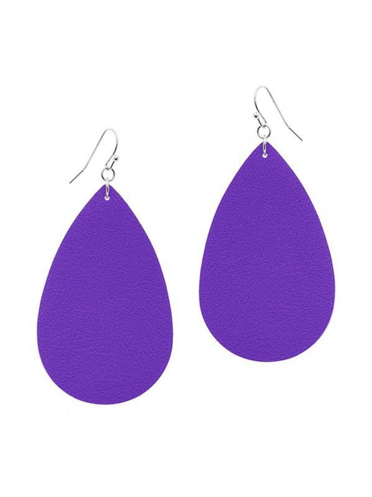 Tear Drop Leather Earring, Purple-Earrings-Suzie Q-OS-Purple-Chic Boutique and Gift Emporium