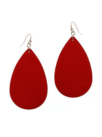 Tear Drop Leather Earring, Red-Earrings-Suzie Q-OS-Red-Chic Boutique and Gift Emporium