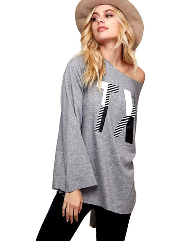 """Texas"" Loose Fit Graphic Top, Heather Grey-LONG SLEEVE-Fantastic Fawn-Chic Boutique and Gift Emporium"