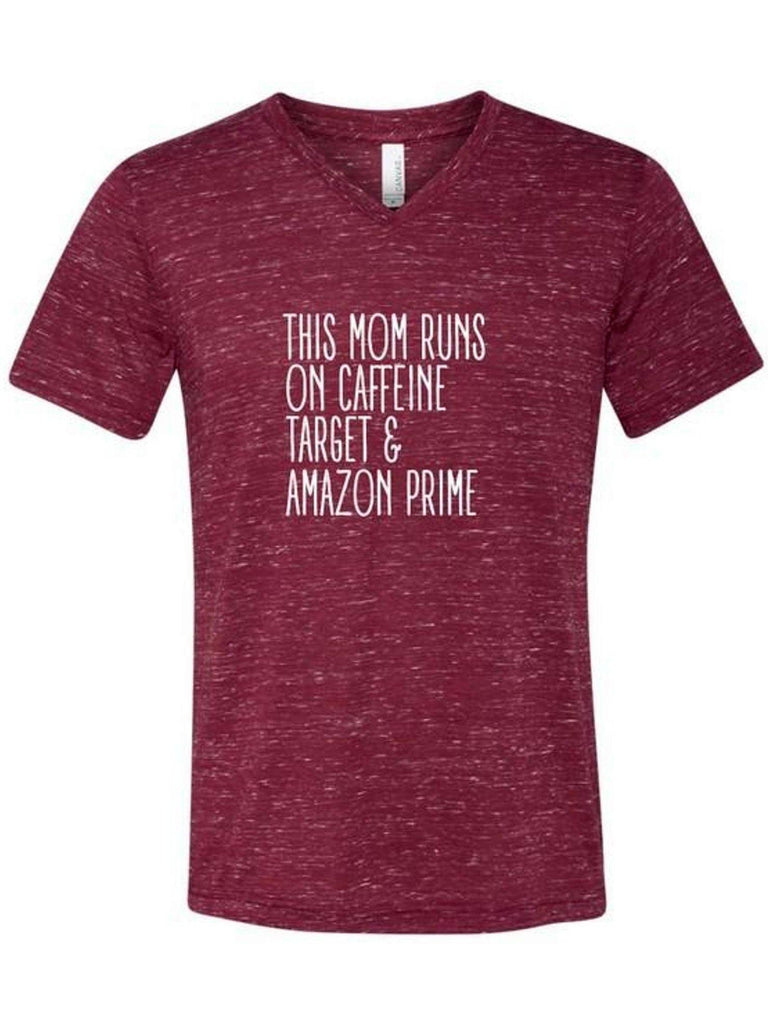 This Mom Runs on Caffeine, Target and Amazon Prime Short Sleeve Tee, Maroon Marble-GRAPHIC TOPS-OCEAN & 7TH-Chic Boutique and Gift Emporium