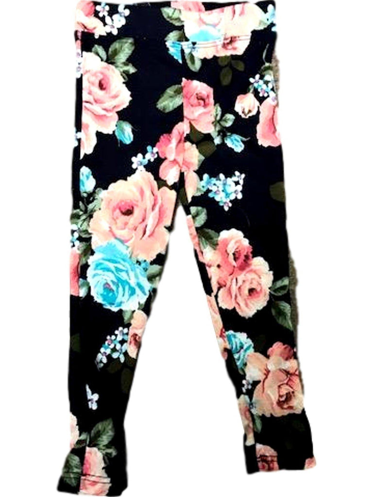 Toddlers' Floral Legging, Aqua-TODDLER LEGGINGS-POMELO-Chic Boutique and Gift Emporium