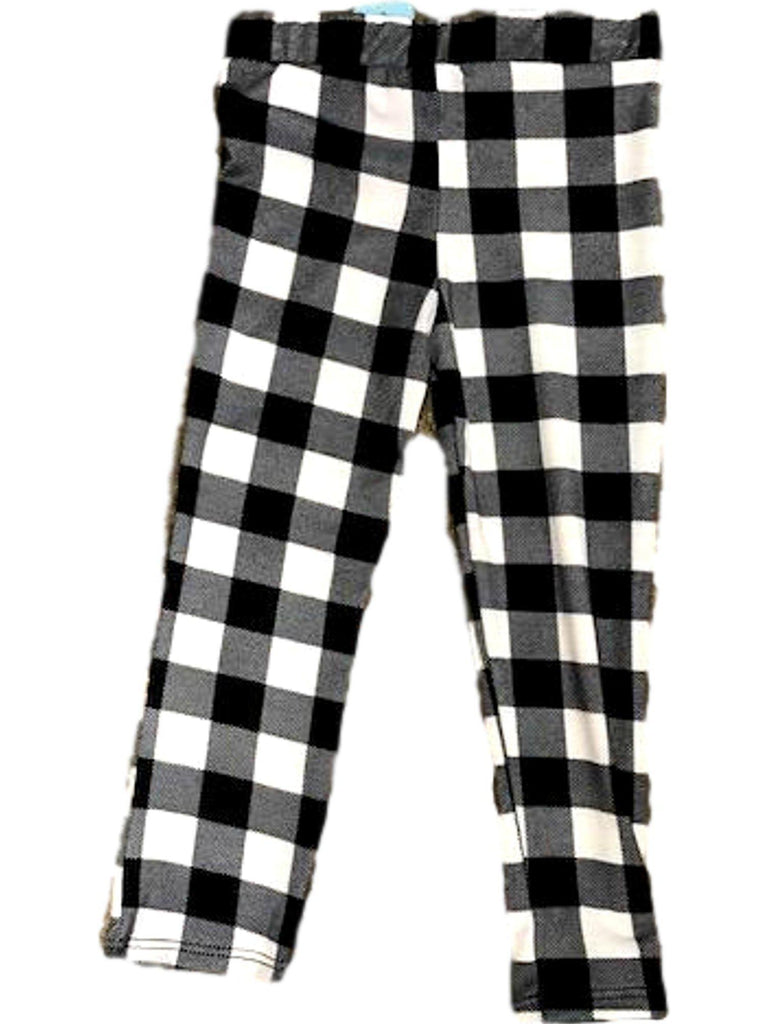 Toddlers Plaid Leggings, Black-White-TODDLER LEGGINGS-POMELO-Chic Boutique and Gift Emporium