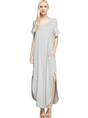 Trending Solid Dress, Heather Grey-CASUAL DRESSES-Faith Apparel-Chic Boutique and Gift Emporium