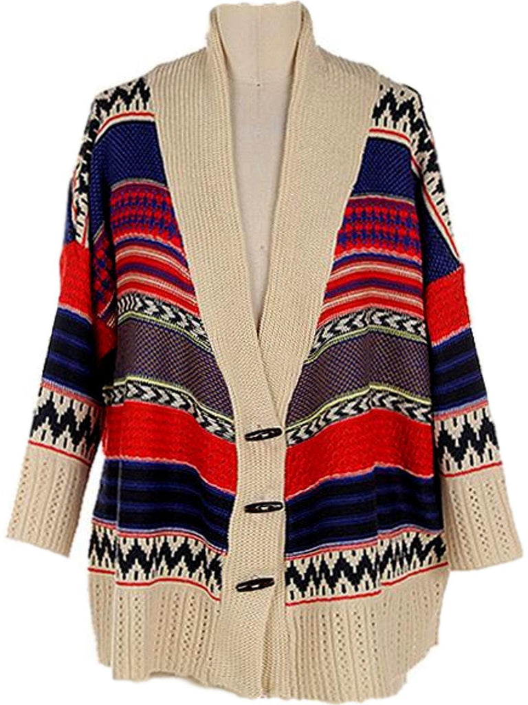 Tribal slouchy Cardigan, Red-Blue-Ivory-Flash Sale-Faith Apparel-Chic Boutique and Gift Emporium