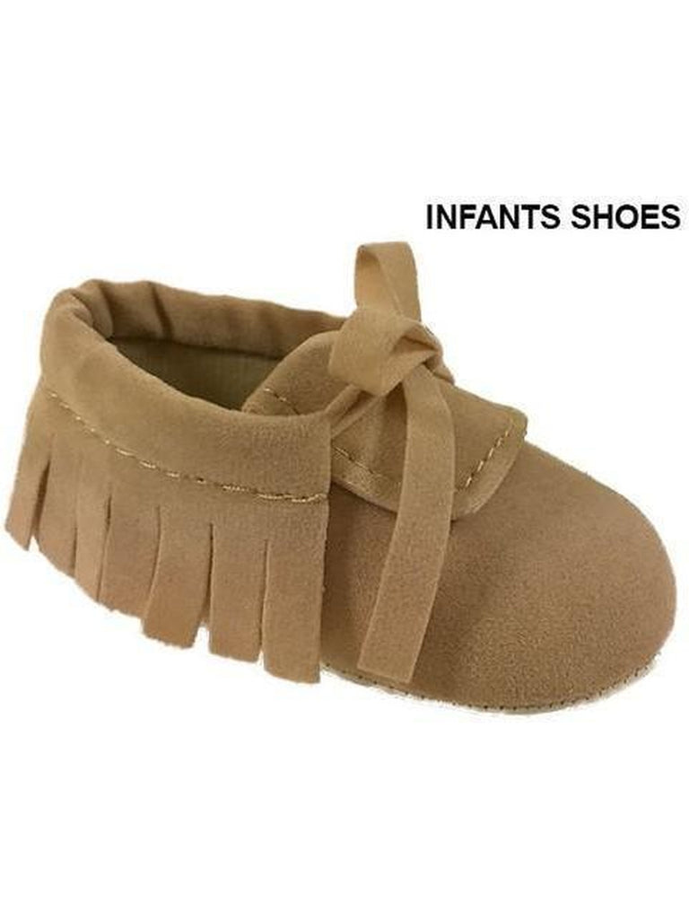 Unisex Infant Tie Up Mocc, Beige-INFANT FLATS-Shoe Click US-Chic Boutique and Gift Emporium