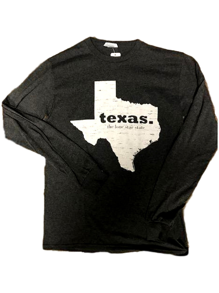 "Unisex Long Sleeve ""Texas, The Lone Star State"" Tee, Charcoal-GRAPHIC TOPS-Cherry Top-Chic Boutique and Gift Emporium"