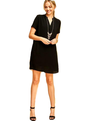 V-Neck Lined Shift Dress, Black-CASUAL DRESSES-ENTRO-Chic Boutique and Gift Emporium