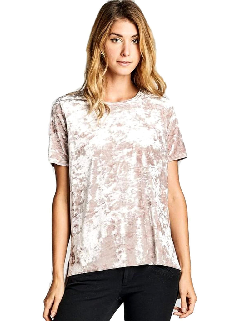 Velour Boxy Short Sleeve Hi-Low Top, Mocha-CASUAL TOPS-Nu Label-Chic Boutique and Gift Emporium