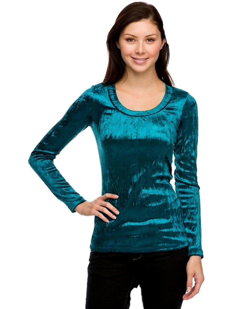 Velour Scoop Neck Top, Teal-LONG SLEEVE-2NE1 APPAREL-Chic Boutique and Gift Emporium