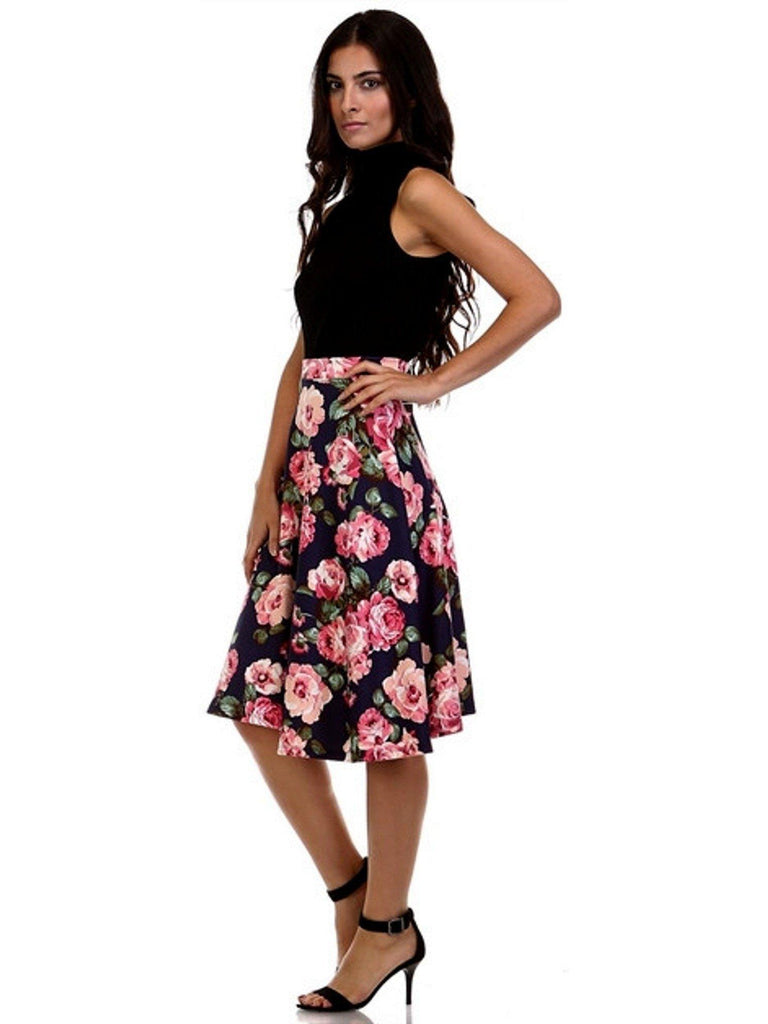 Vintage Floral Midi Skirt, Navy-SKIRTS-LARA-Chic Boutique and Gift Emporium