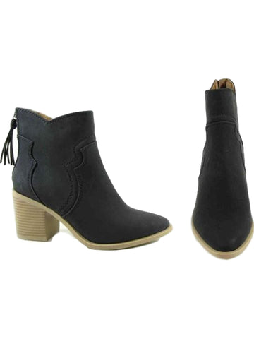 Western Booties with Black Tassel Zipper, Black-BOOTIES-LETS SEE STYLE-Chic Boutique and Gift Emporium