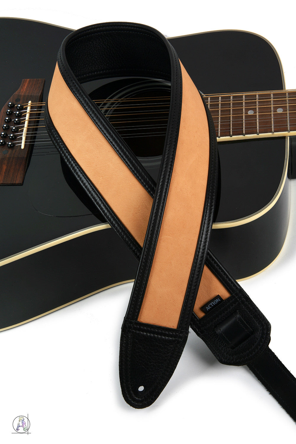 Black and Mellow Tan Soft Leather Guitar Strap