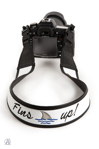 """Fins up!"" Custom Embroidered Soft Leather Camera Strap"