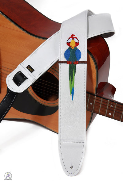Fun Parrot on White Leather Custom Guitar Strap