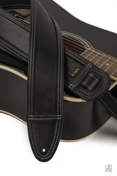 Blackheart 100 with Bone Stitching - Soft Black Leather Guitar Strap