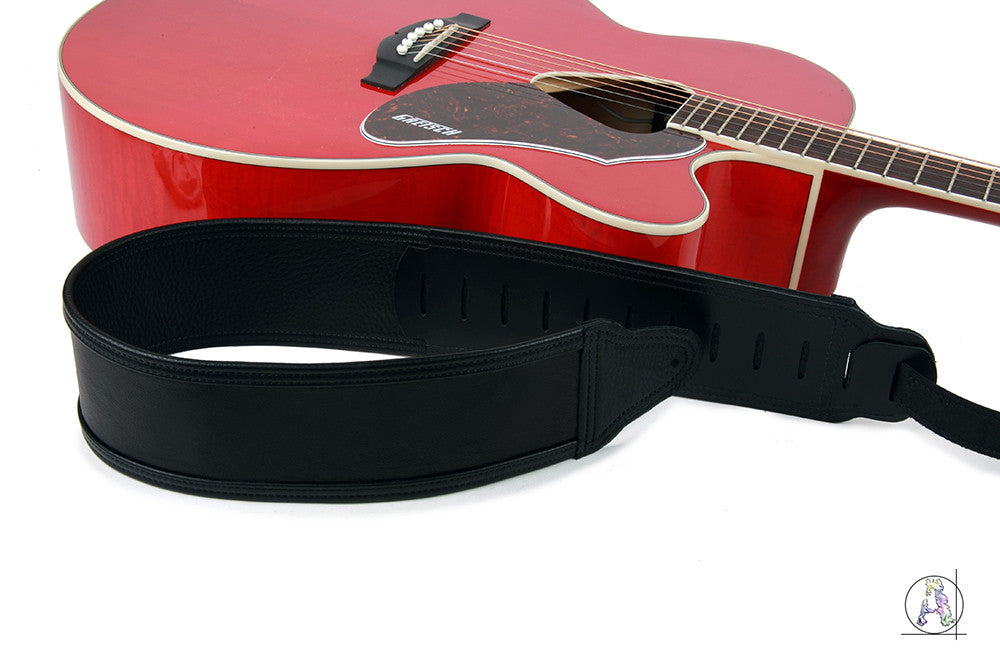 Blackheart 200 - Soft Cabretta Leather and Black Cowhide Guitar Strap