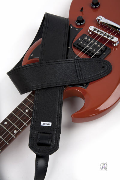 Simply Classy Black 100 Leather Guitar Strap