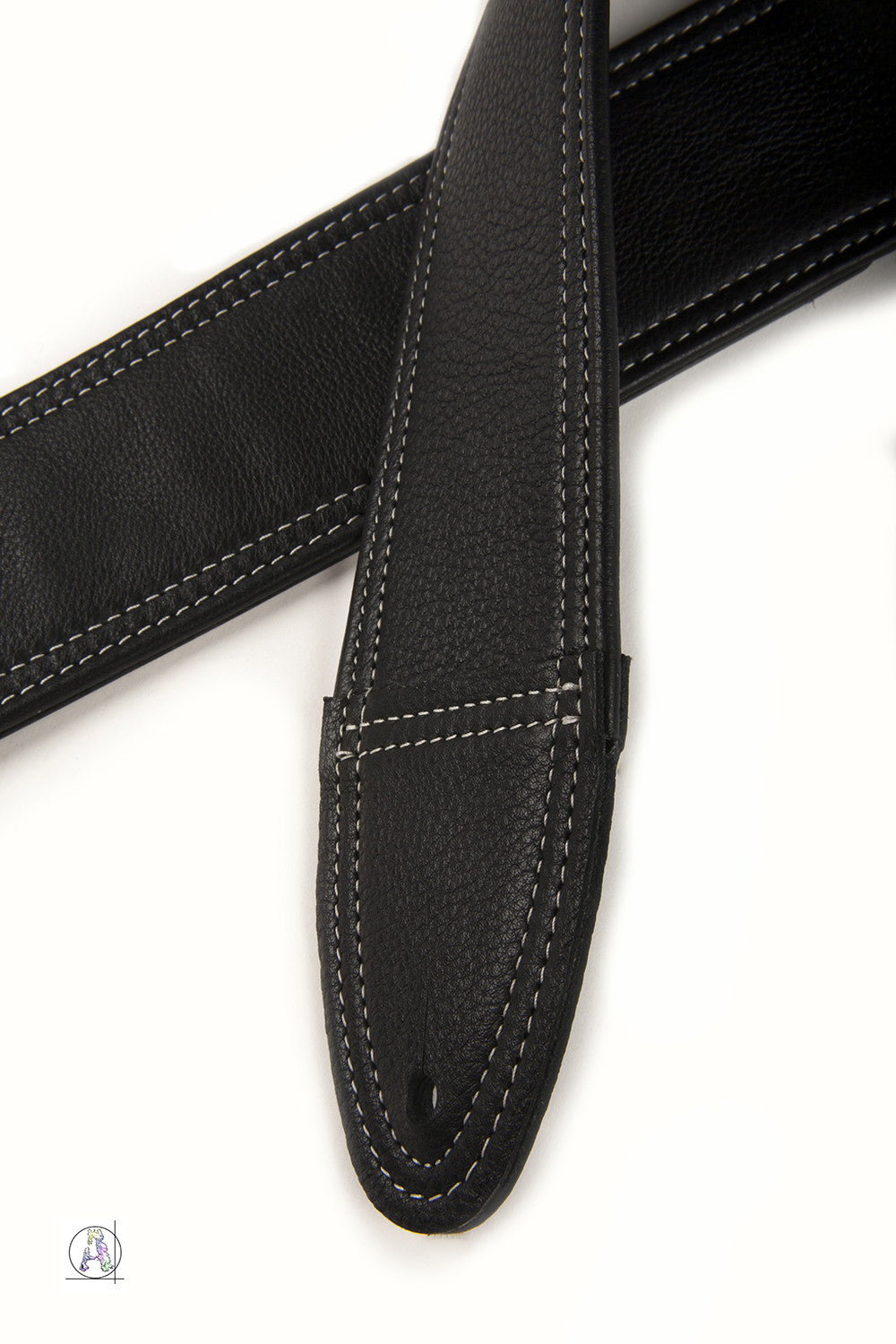 Simply Classy Black with Bone Stitching Custom Guitar Strap