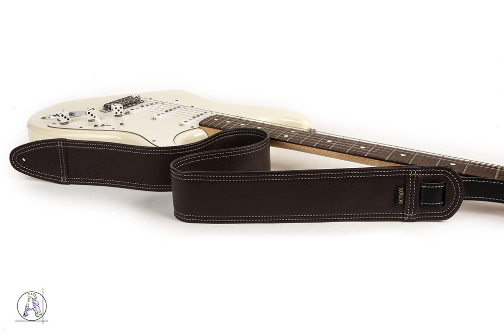 Simply Classy Brown with Bone Stitching Custom Guitar Strap